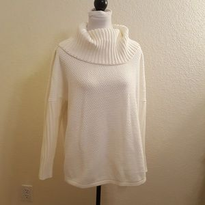 Oversized Ribbed Cowl Neck Off-White Sweater Sz OL